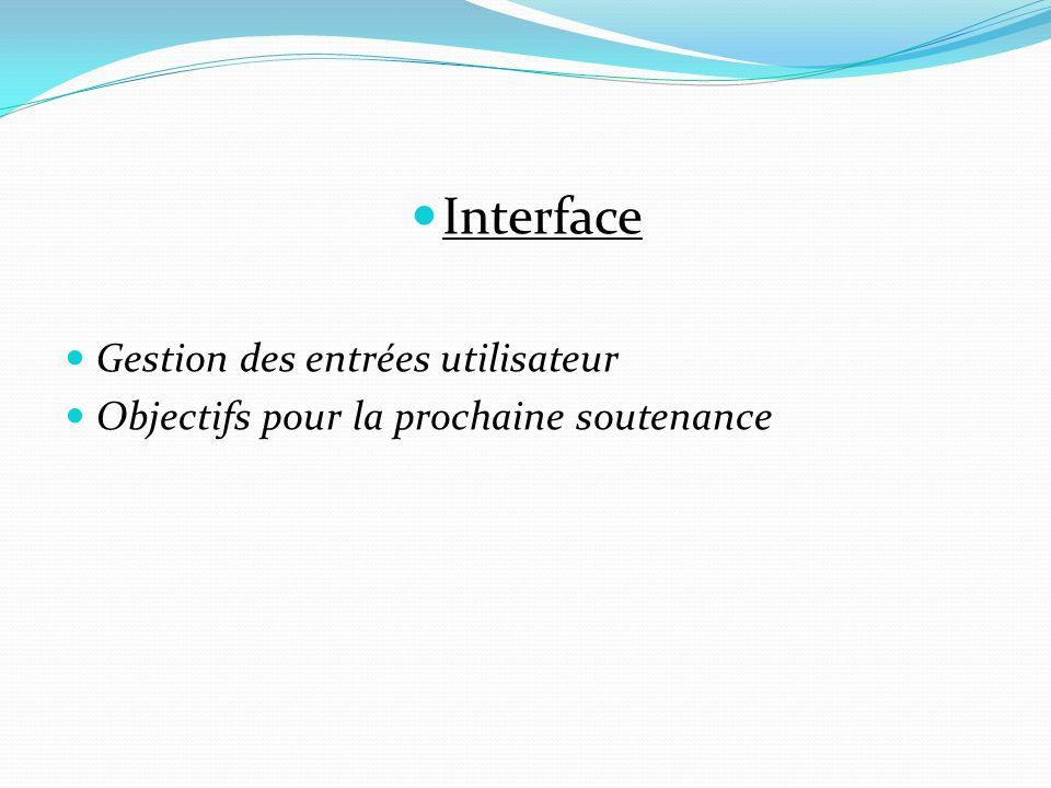 Interface Gestion des entrées utilisateur