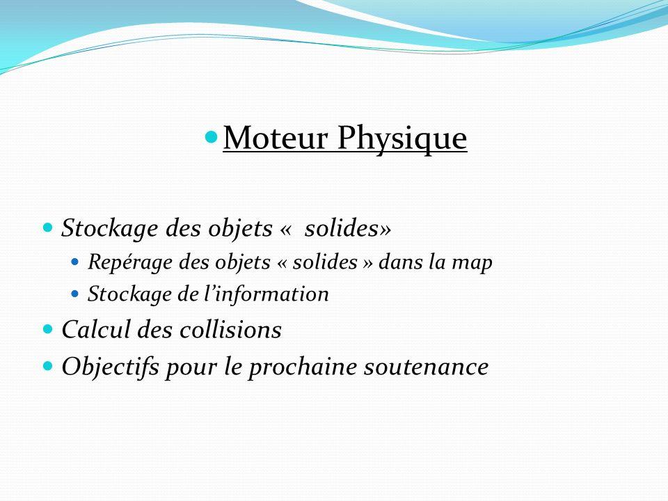 Moteur Physique Stockage des objets « solides» Calcul des collisions