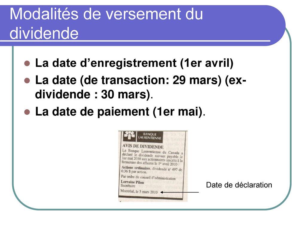 déclaration distribution de dividendes