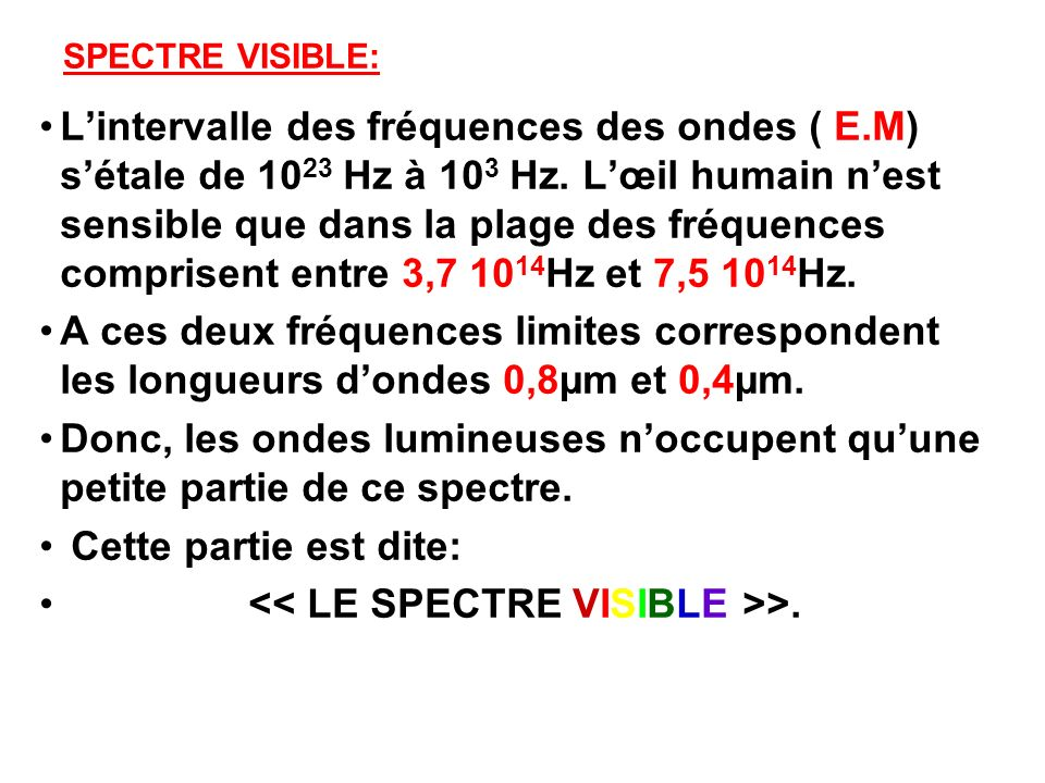 << LE SPECTRE VISIBLE >>.
