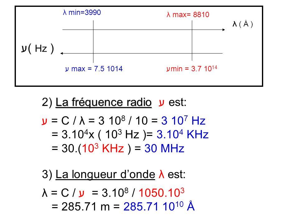 2) La fréquence radio ע est: ע = C / λ = 3 108 / 10 = 3 107 Hz
