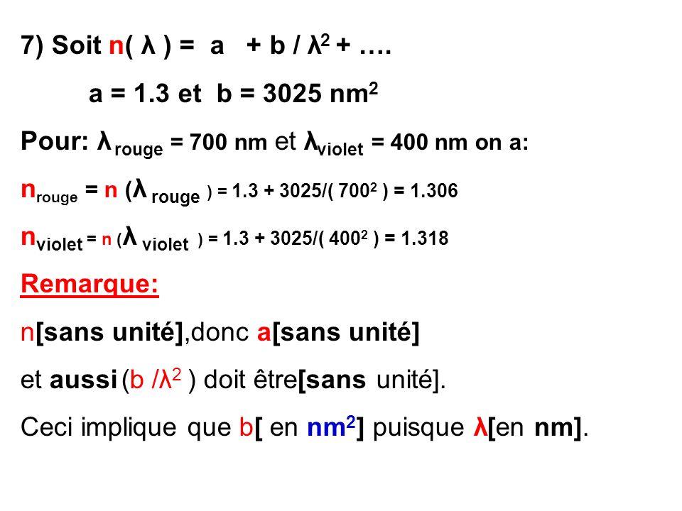 7) Soit n( λ ) = a + b / λ2 + …. a = 1.3 et b = 3025 nm2. Pour: λ rouge = 700 nm et λviolet = 400 nm on a: