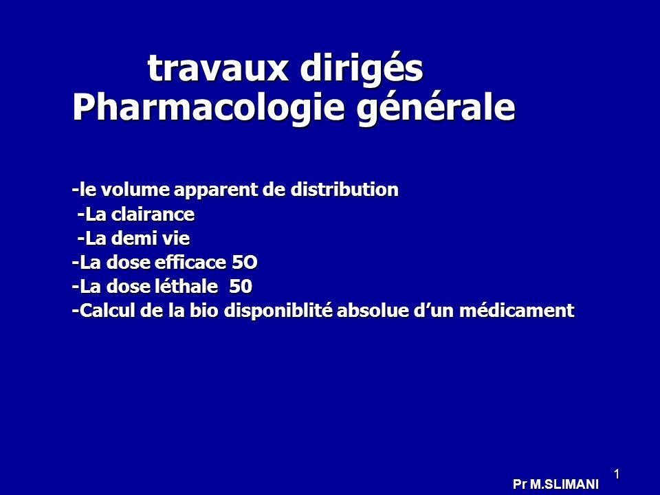 travaux dirigés Pharmacologie générale