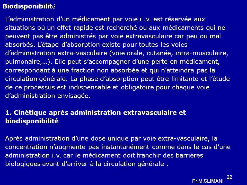 1. Cinétique après administration extravasculaire et biodisponibilité