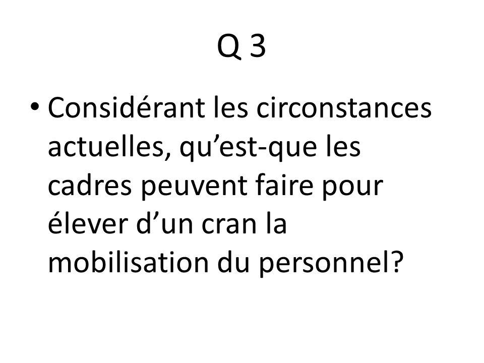 Q 3 Considérant les circonstances actuelles, qu'est-que les cadres peuvent faire pour élever d'un cran la mobilisation du personnel
