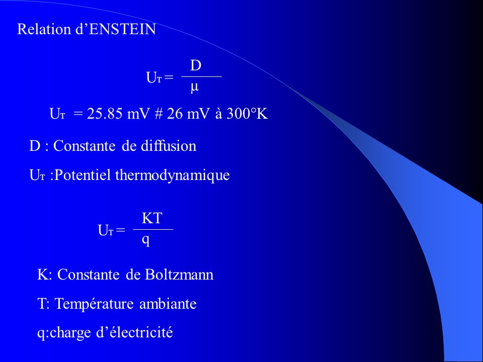 Relation d'ENSTEIN UT = D. µ. UT = 25.85 mV # 26 mV à 300°K. D : Constante de diffusion. UT :Potentiel thermodynamique.