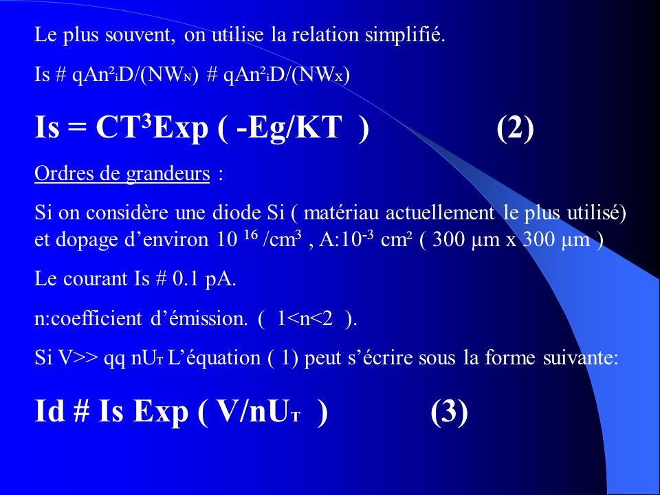 Is = CT3Exp ( -Eg/KT ) (2) Id # Is Exp ( V/nUT ) (3)