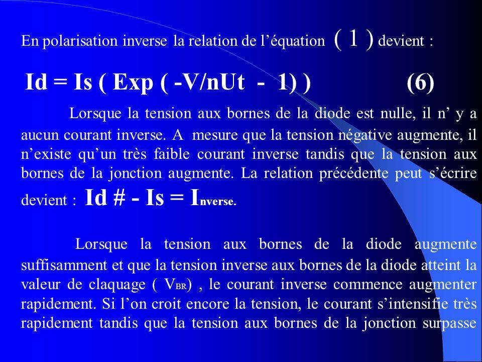 En polarisation inverse la relation de l'équation ( 1 ) devient :