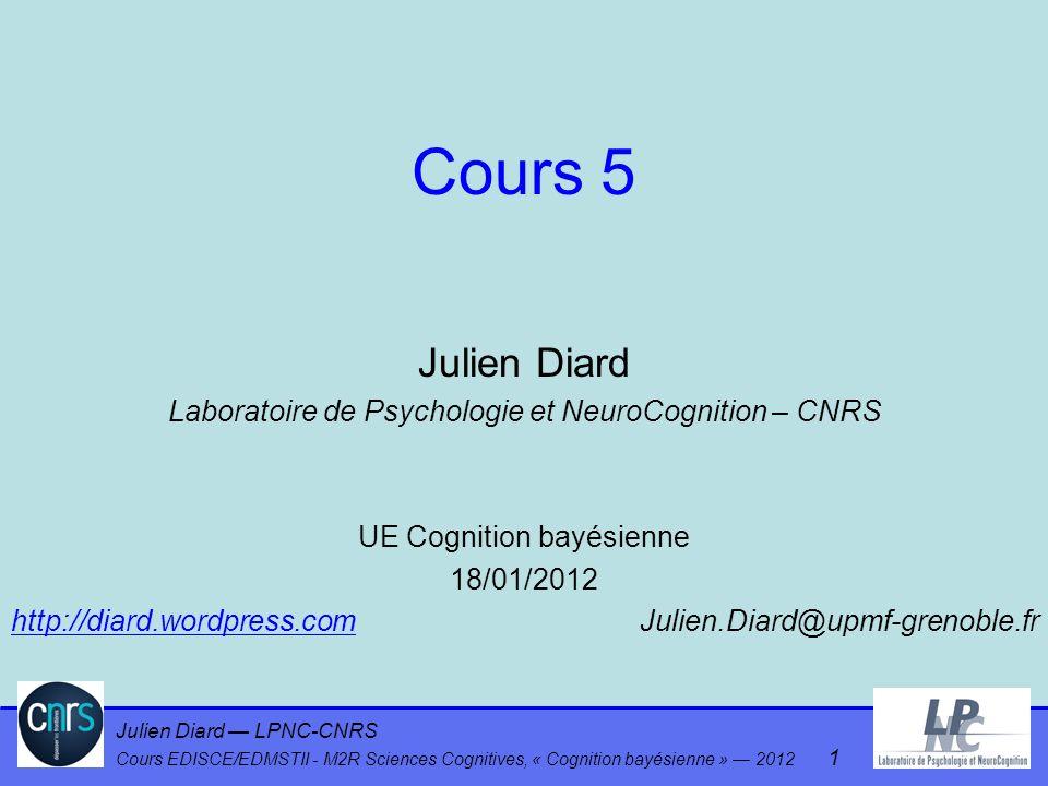 Cours 5 Julien Diard. Laboratoire de Psychologie et NeuroCognition – CNRS. UE Cognition bayésienne.