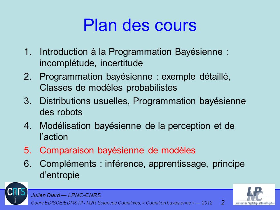 Plan des cours Introduction à la Programmation Bayésienne : incomplétude, incertitude.