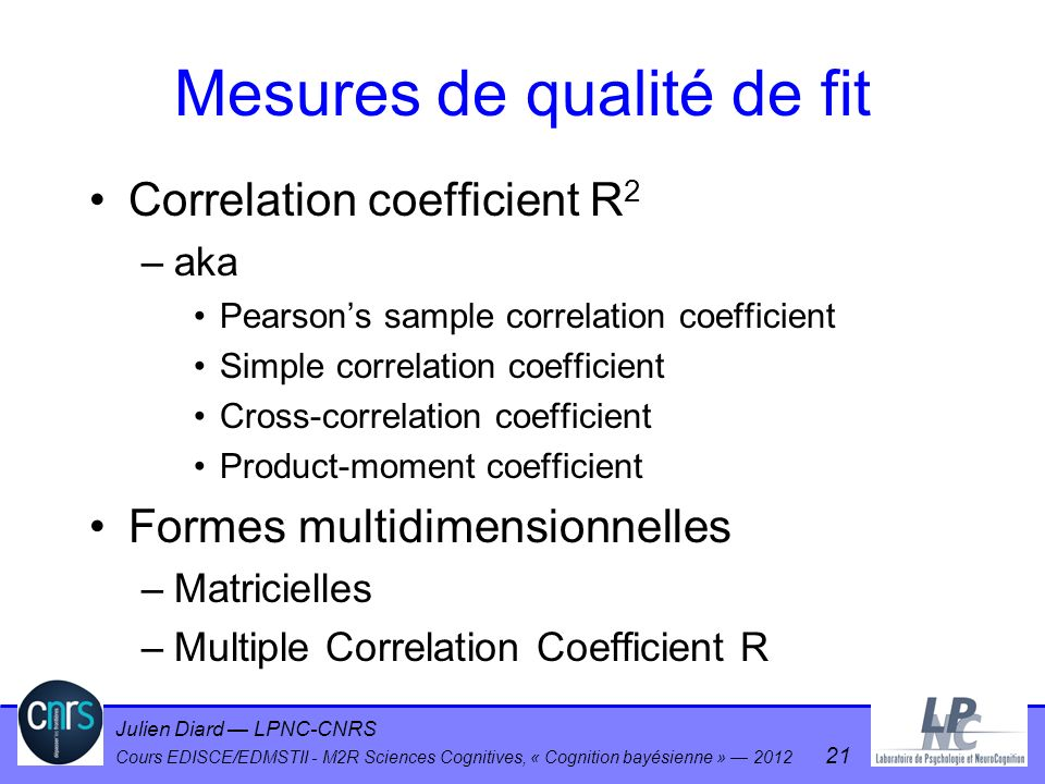 Mesures de qualité de fit
