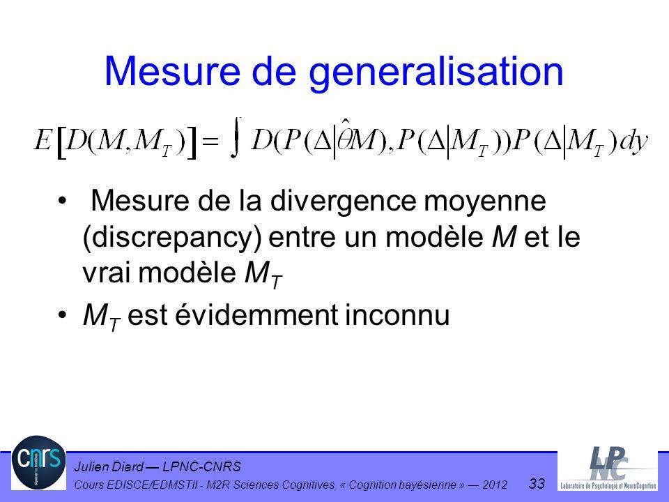 Mesure de generalisation