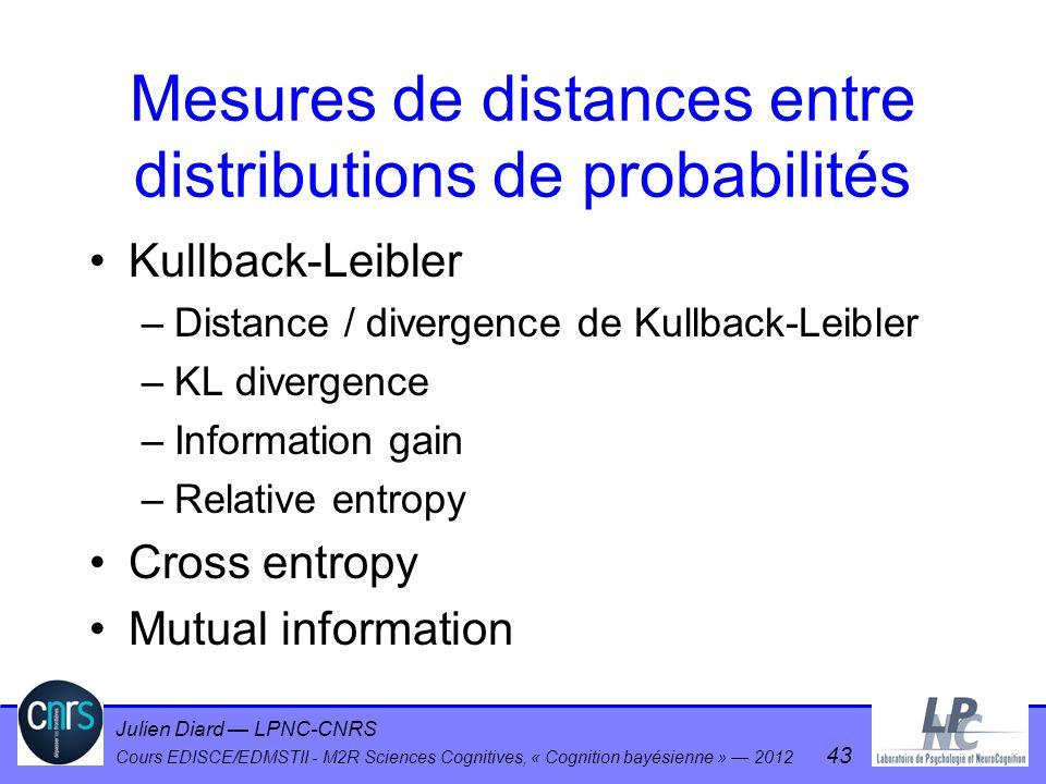 Mesures de distances entre distributions de probabilités
