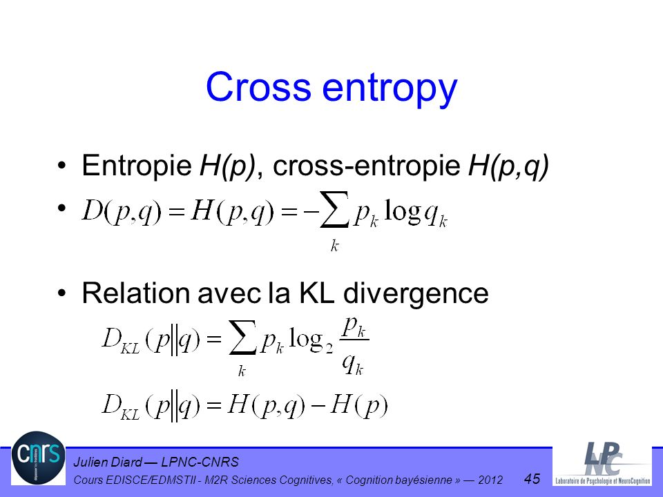 Cross entropy Entropie H(p), cross-entropie H(p,q)