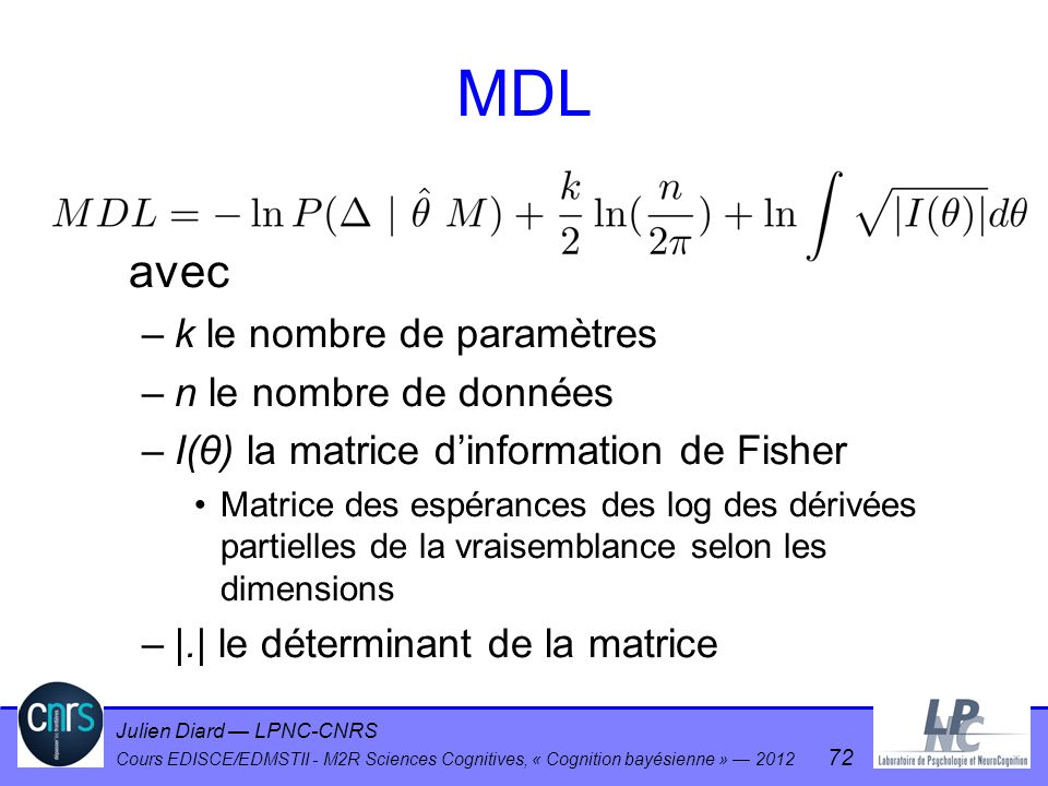 MDL avec k le nombre de paramètres n le nombre de données