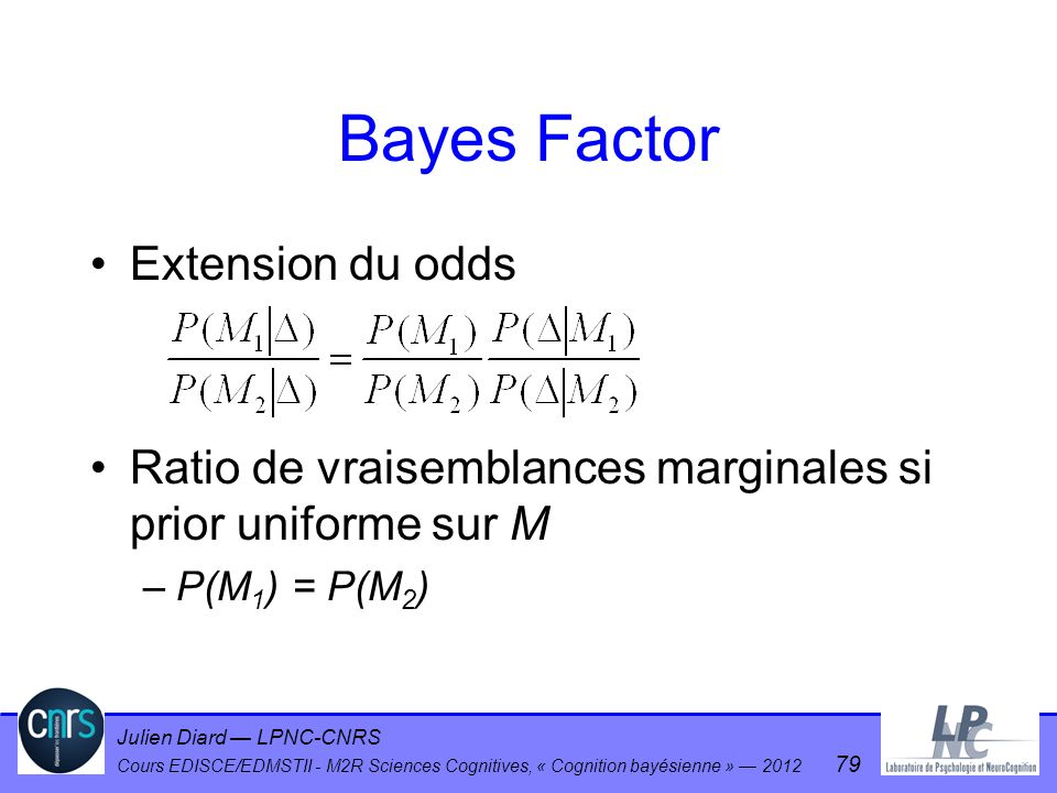 Bayes Factor Extension du odds