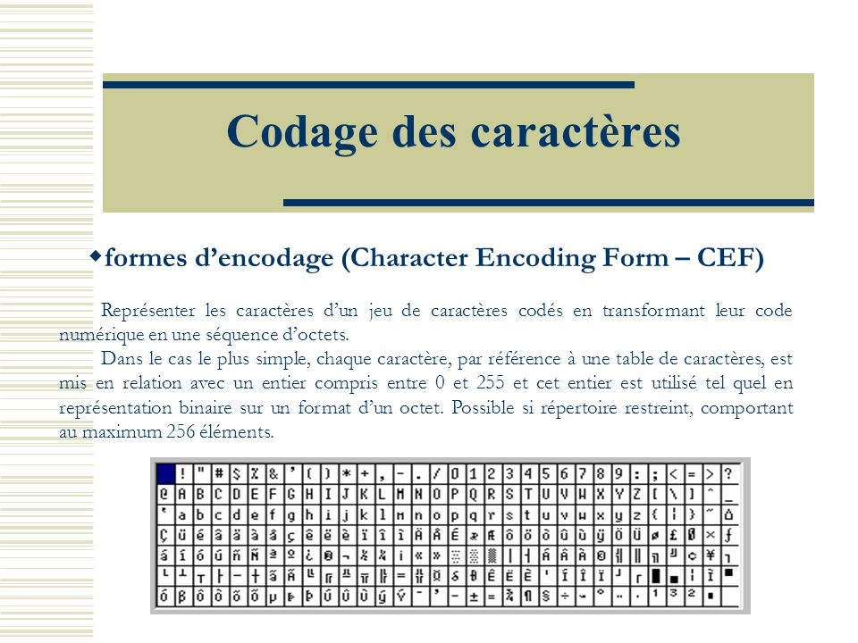 formes d'encodage (Character Encoding Form – CEF)