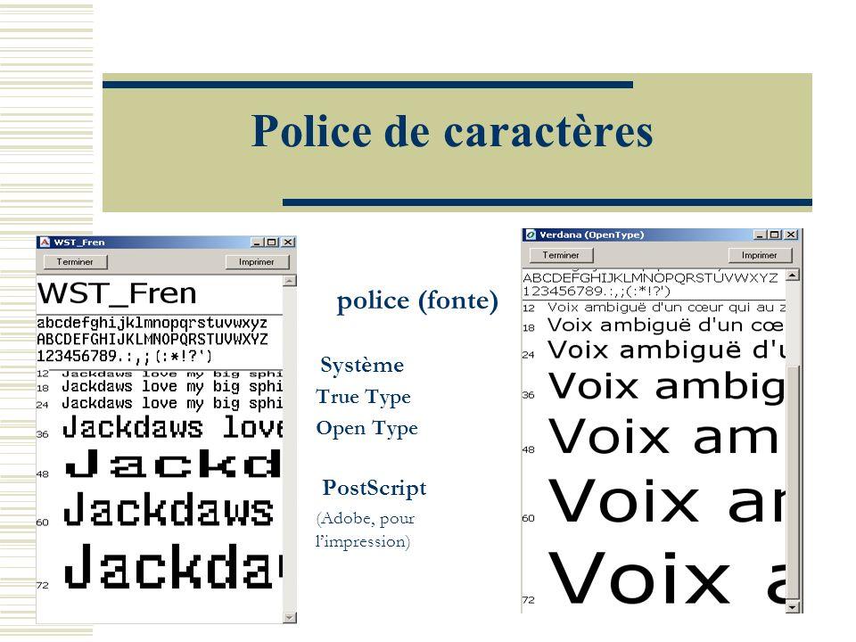 Police de caractères police (fonte) PostScript True Type Open Type