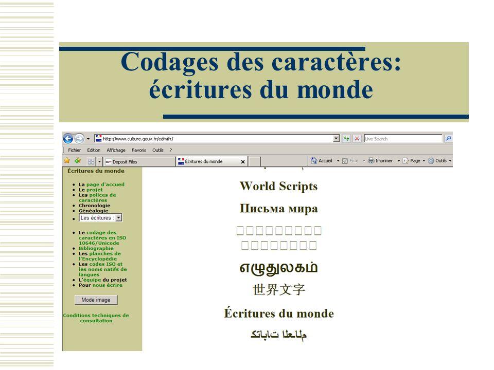 Codages des caractères: écritures du monde