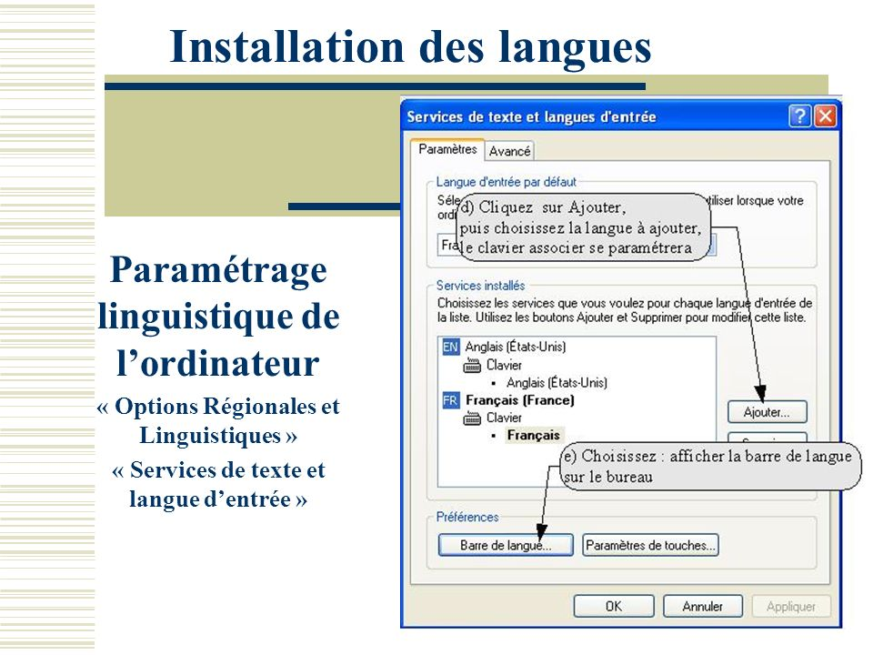 Installation des langues