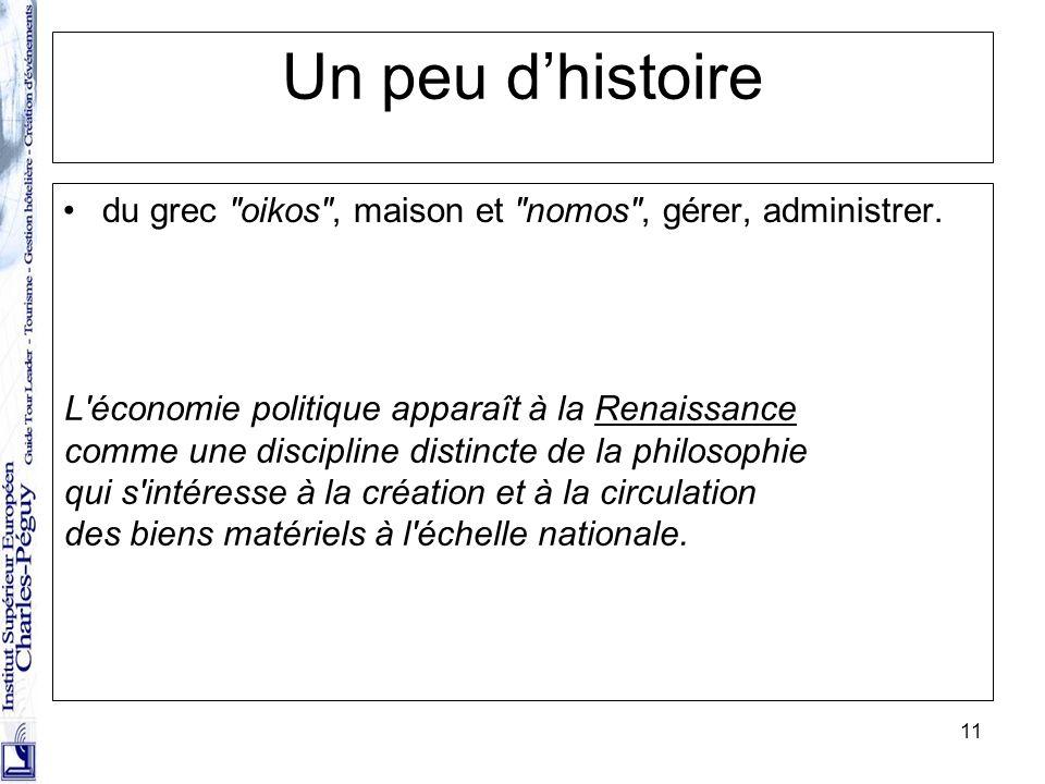 Un peu d'histoire du grec oikos , maison et nomos , gérer, administrer. L économie politique apparaît à la Renaissance.
