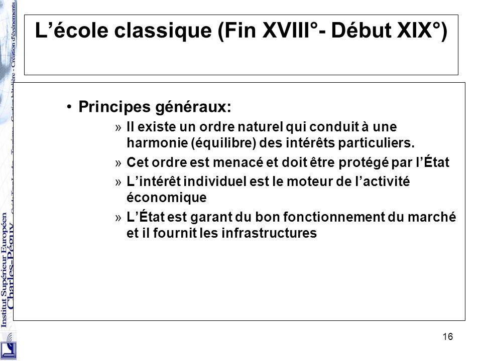 L'école classique (Fin XVIII°- Début XIX°)