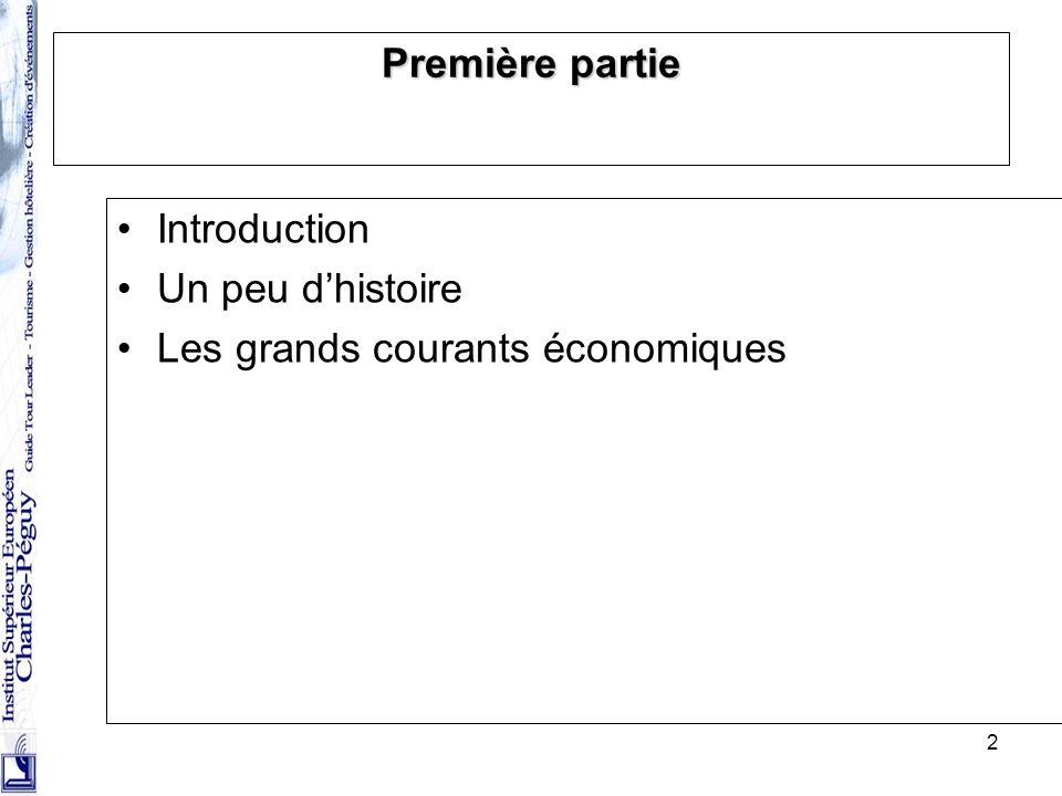 Première partie Introduction Un peu d'histoire Les grands courants économiques