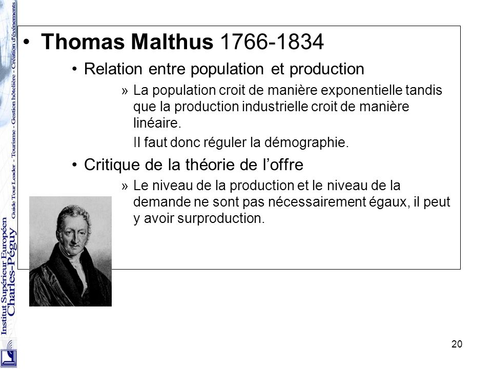 Thomas Malthus 1766-1834 Relation entre population et production