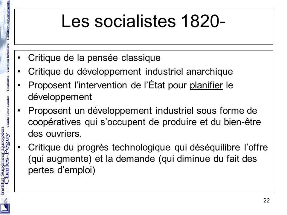 Les socialistes 1820- Critique de la pensée classique