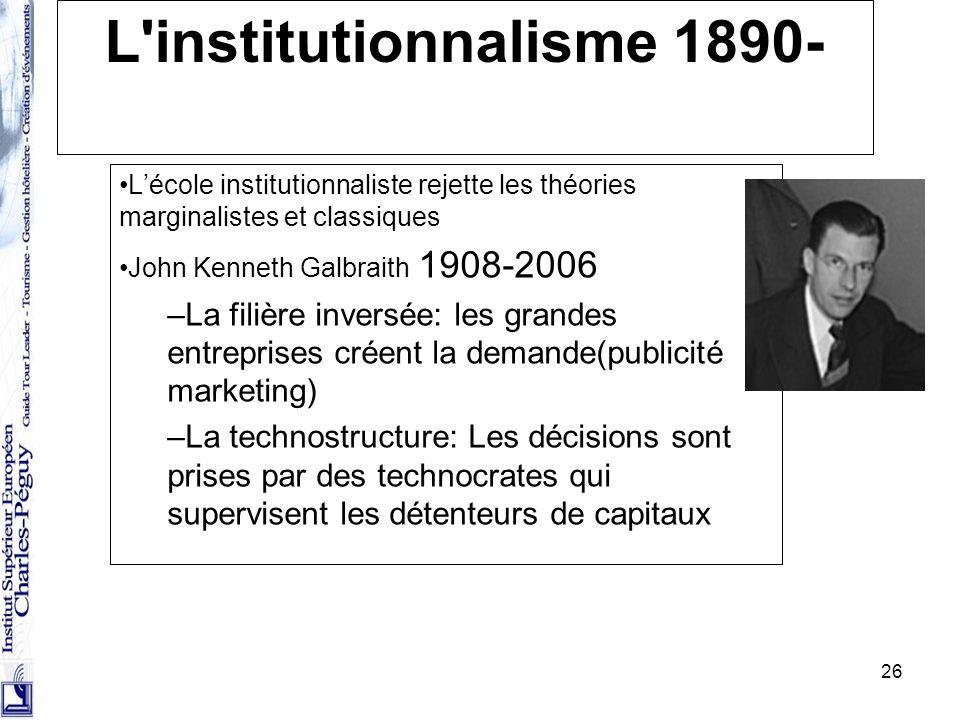 L institutionnalisme 1890-