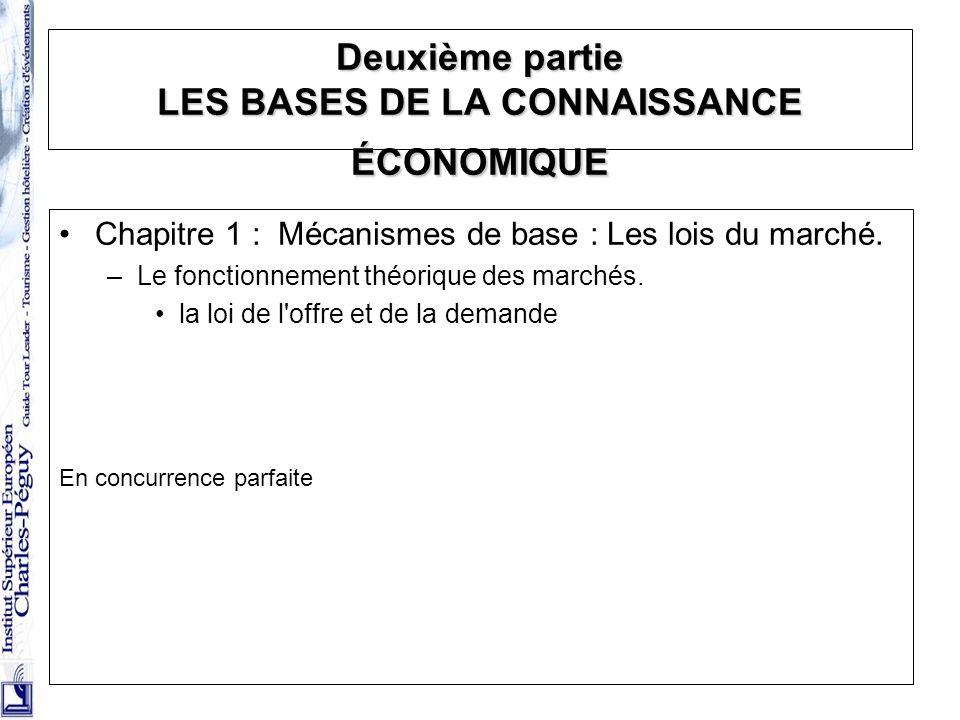 Deuxième partie LES BASES DE LA CONNAISSANCE ÉCONOMIQUE