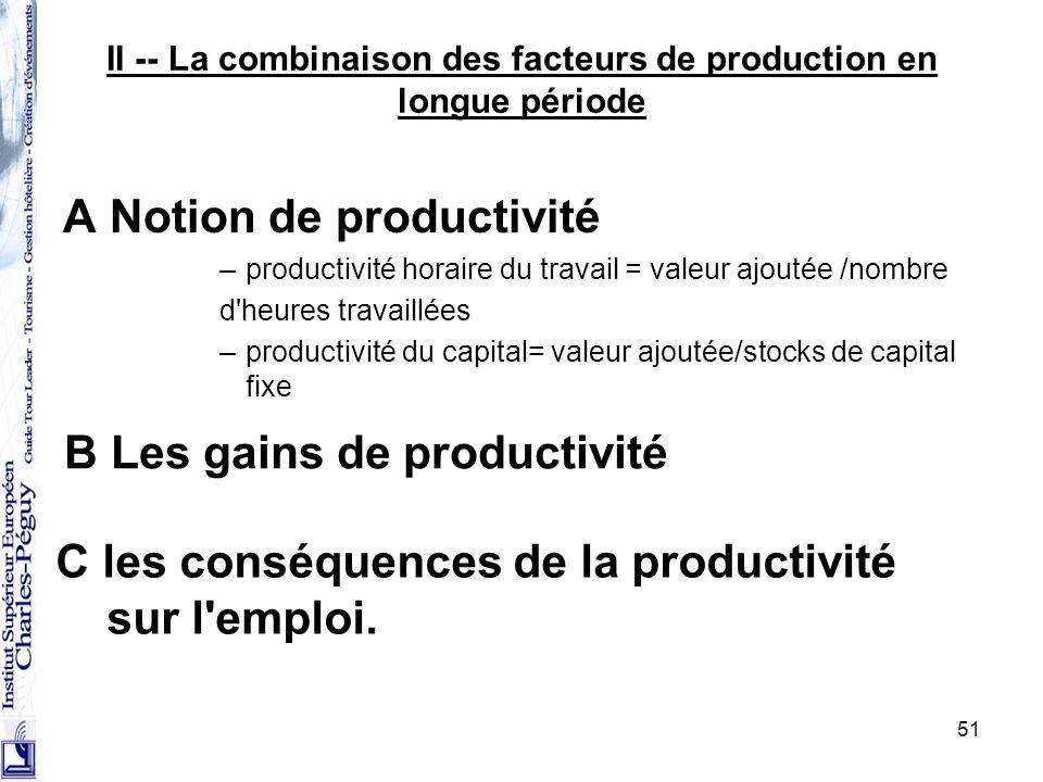 II -- La combinaison des facteurs de production en longue période