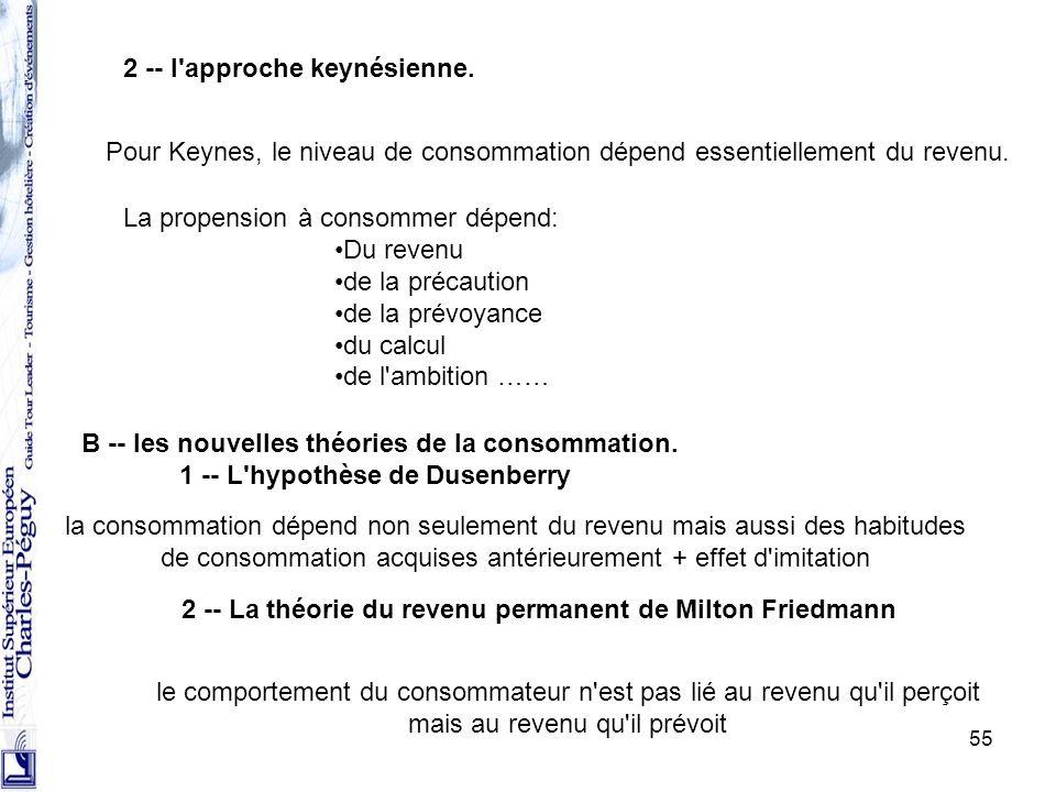 B -- les nouvelles théories de la consommation.
