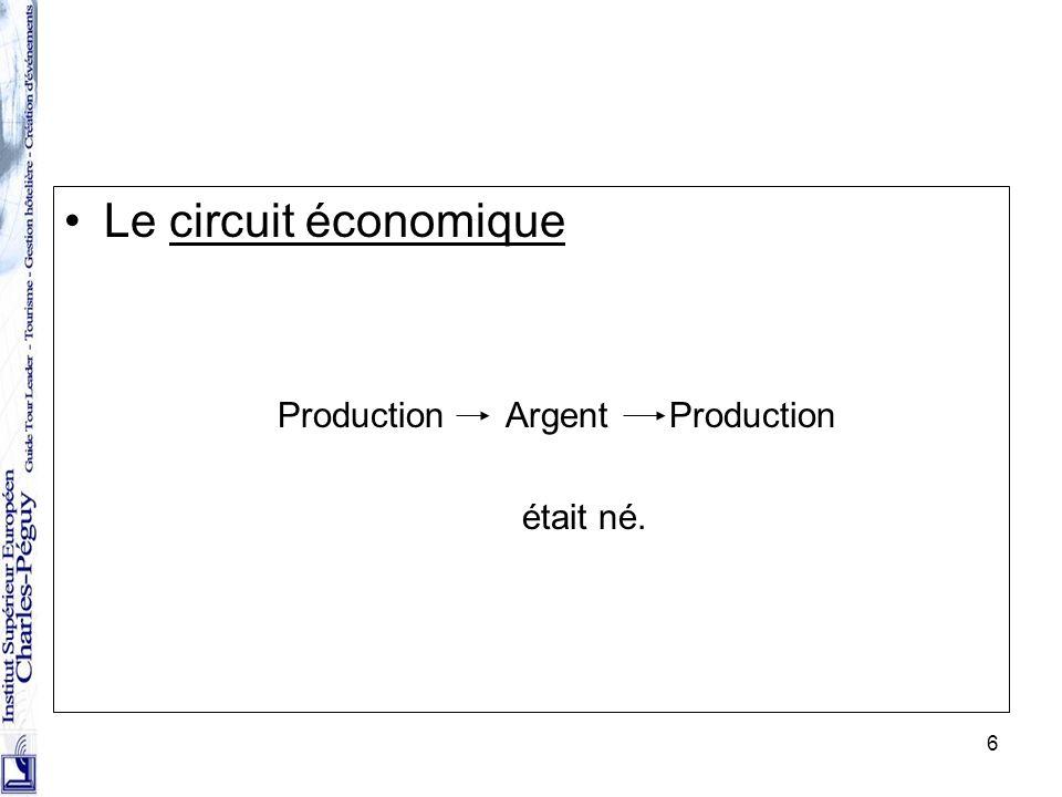 Le circuit économique Production Argent Production était né.