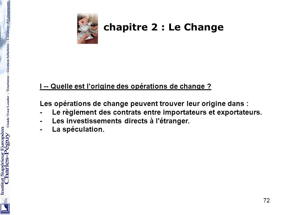 chapitre 2 : Le Change I -- Quelle est l origine des opérations de change Les opérations de change peuvent trouver leur origine dans :