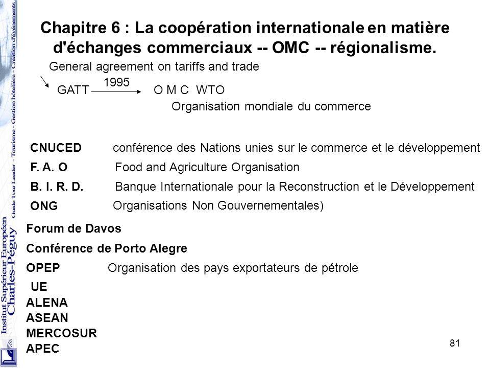 Chapitre 6 : La coopération internationale en matière d échanges commerciaux -- OMC -- régionalisme.