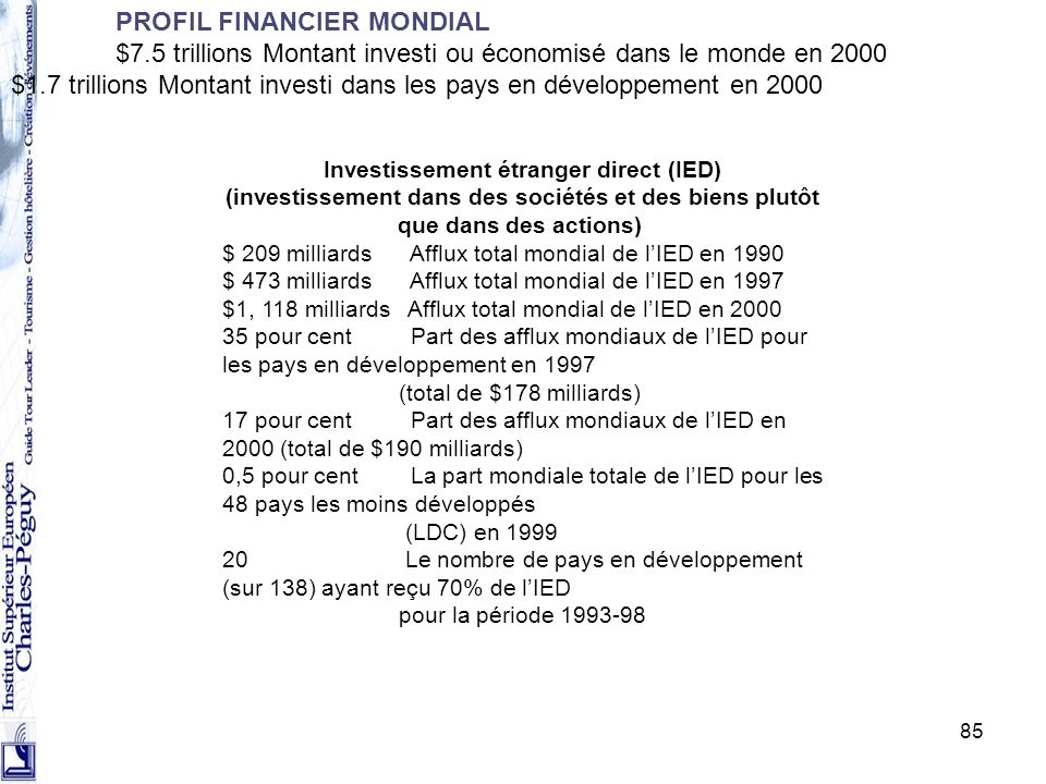 PROFIL FINANCIER MONDIAL