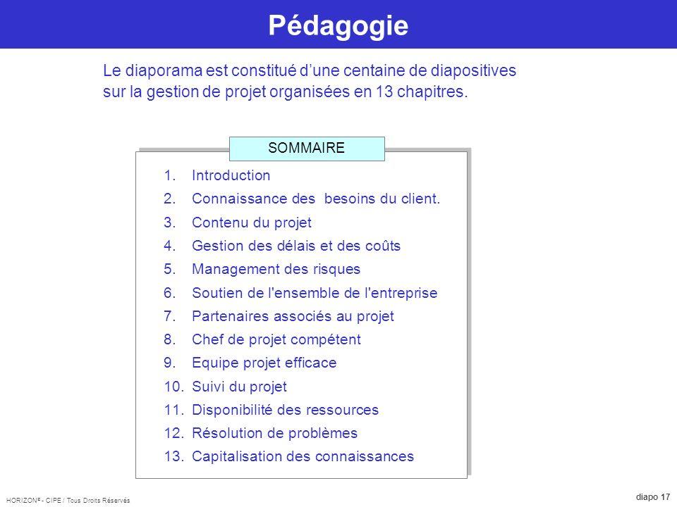 Pédagogie Le diaporama est constitué d'une centaine de diapositives sur la gestion de projet organisées en 13 chapitres.