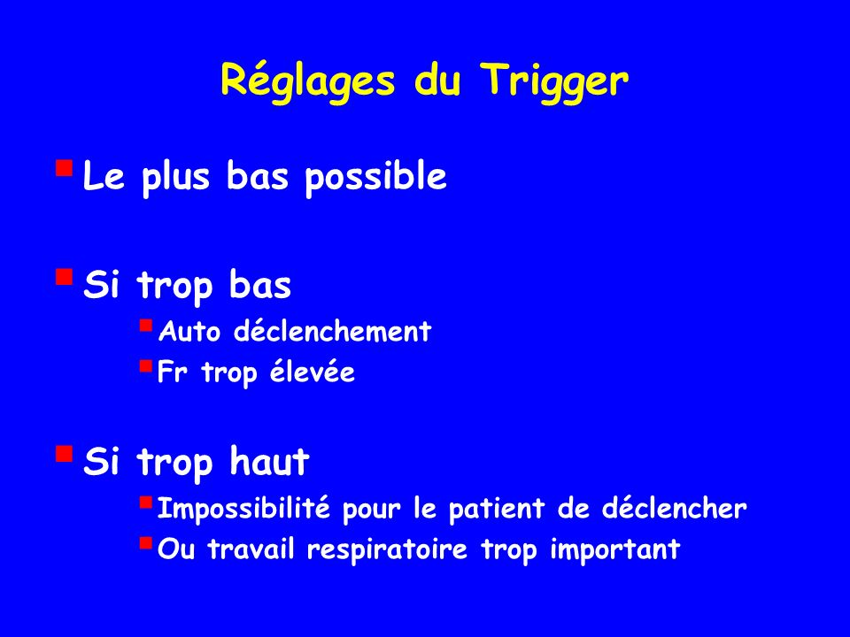 Réglages du Trigger Le plus bas possible Si trop bas Si trop haut