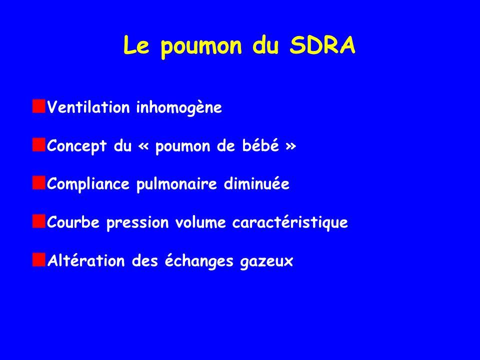 Le poumon du SDRA Ventilation inhomogène Concept du « poumon de bébé »