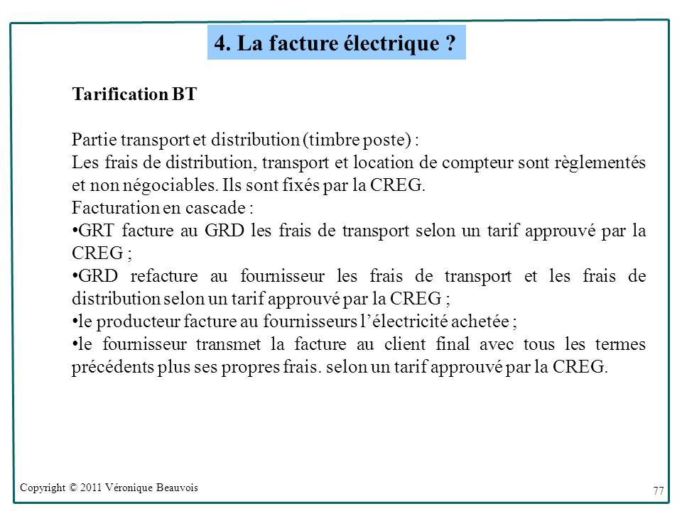 4. La facture électrique Tarification BT