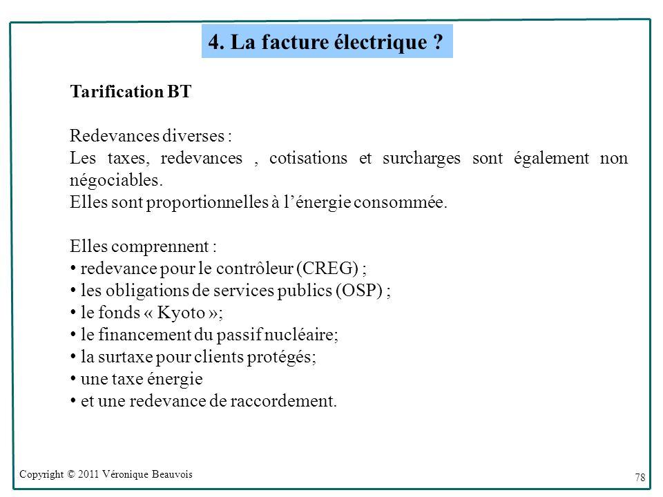 4. La facture électrique Tarification BT Redevances diverses :