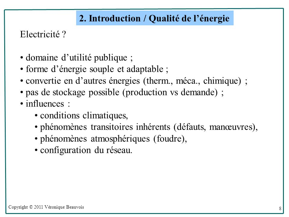 2. Introduction / Qualité de l'énergie