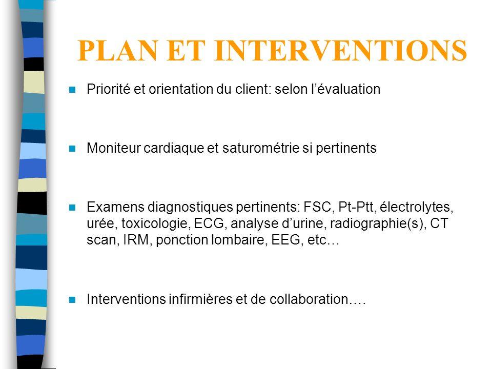 PLAN ET INTERVENTIONS Priorité et orientation du client: selon l'évaluation. Moniteur cardiaque et saturométrie si pertinents.