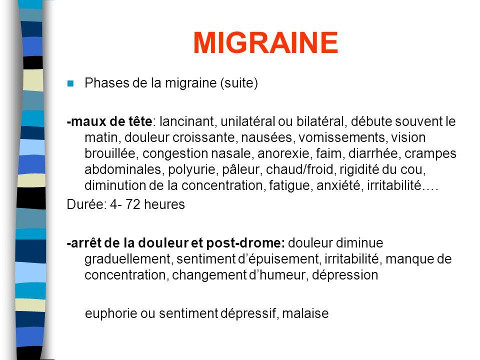MIGRAINE Phases de la migraine (suite)