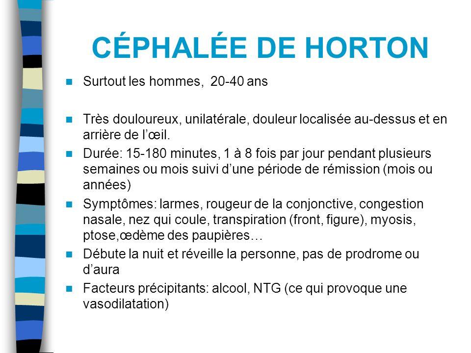 CÉPHALÉE DE HORTON Surtout les hommes, 20-40 ans
