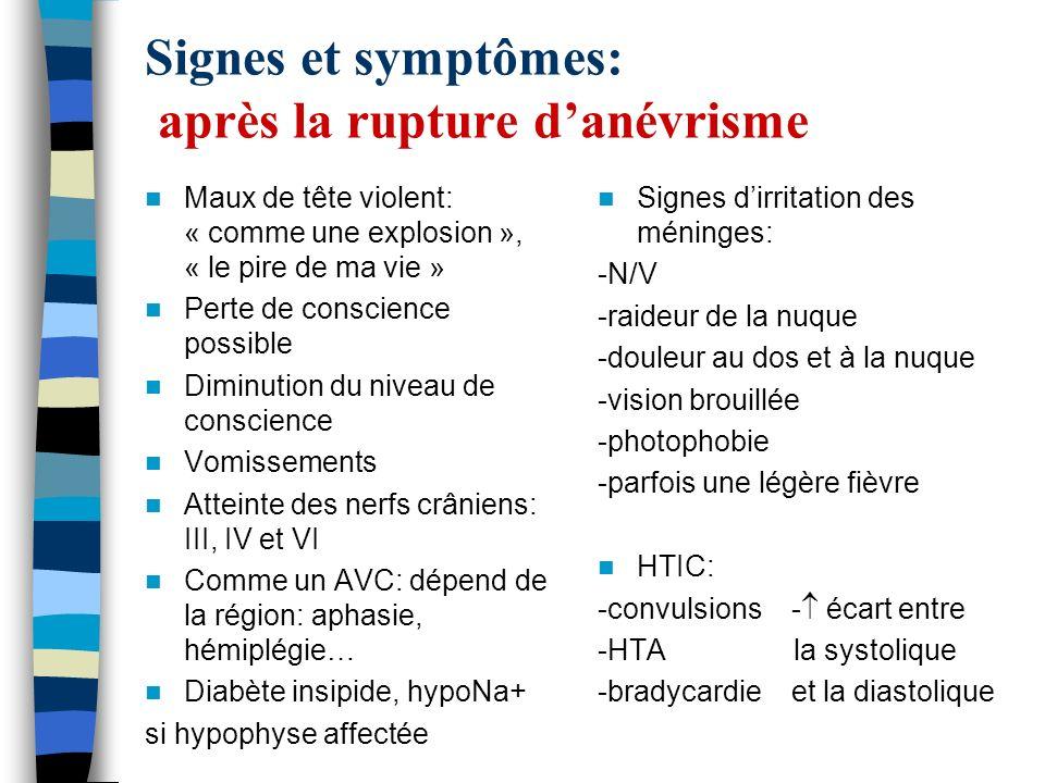 Signes et symptômes: après la rupture d'anévrisme