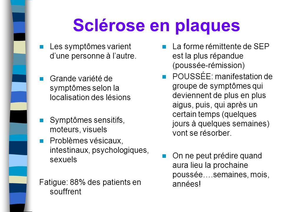 Sclérose en plaques Les symptômes varient d'une personne à l'autre.