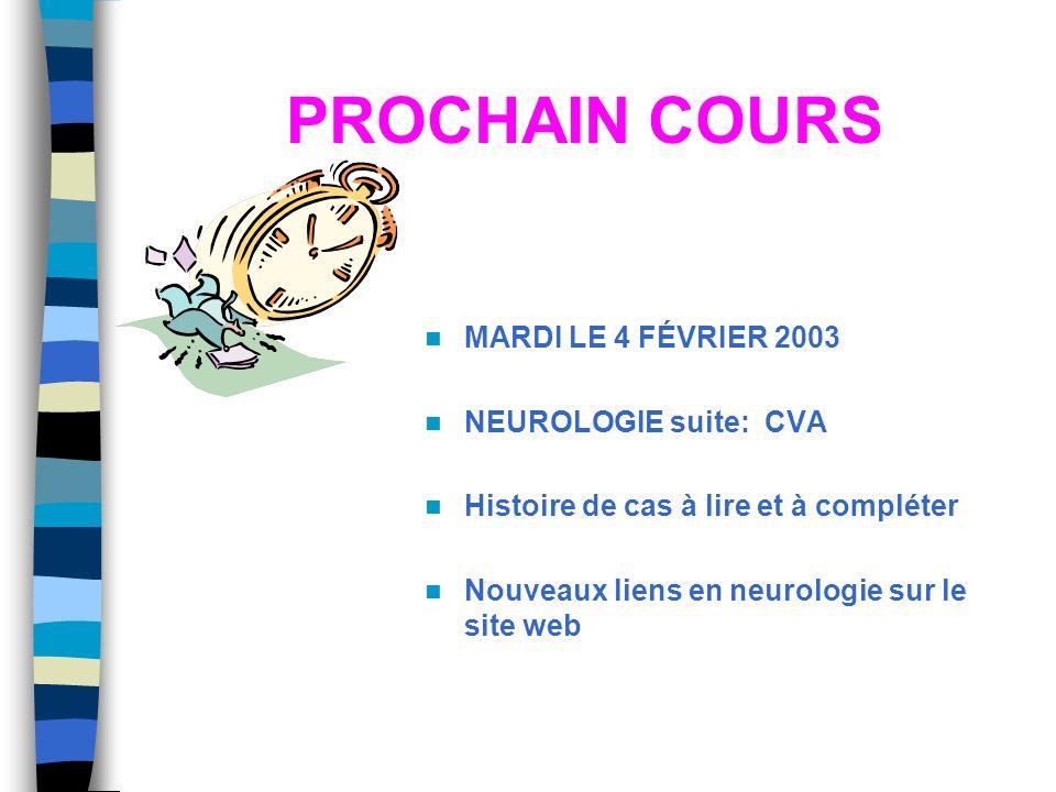 PROCHAIN COURS MARDI LE 4 FÉVRIER 2003 NEUROLOGIE suite: CVA