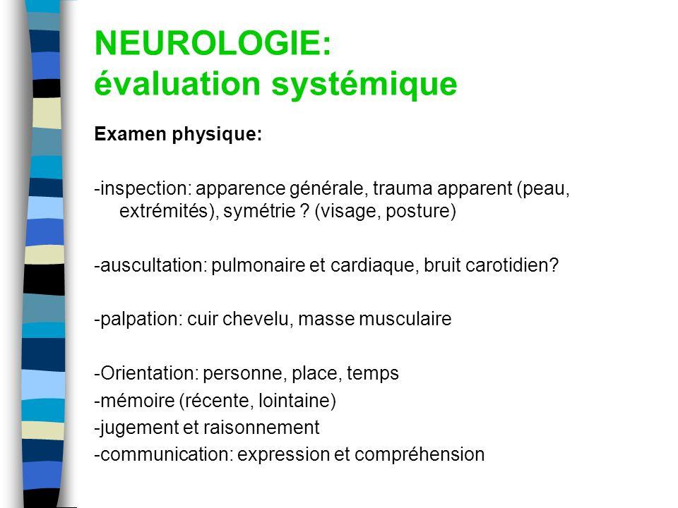 NEUROLOGIE: évaluation systémique